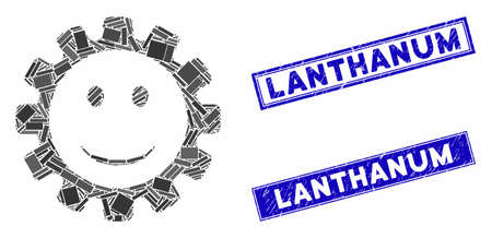 Mosaic gear smile smiley icon and rectangle Lanthanum seal stamps. Flat vector gear smile smiley mosaic icon of random rotated rectangular elements. Blue Lanthanum seal stamps with rubber textures.