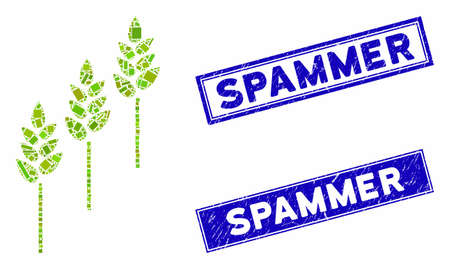 Mosaic wheat plants pictogram and rectangular Spammer rubber prints. Flat vector wheat plants mosaic icon of scattered rotated rectangular elements. Blue Spammer rubber stamps with rubber texture. Ilustracja