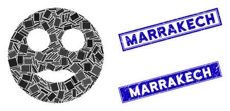 Mosaic lips smiley icon and rectangle Marrakech seals. Flat vector lips smiley mosaic icon of randomized rotated rectangle elements. Blue Marrakech rubber seals with rubber surface.