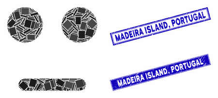 Mosaic indifferent smiley icon and rectangle Madeira Island, Portugal stamps. Flat vector indifferent smiley mosaic icon of scattered rotated rectangle items. Blue Madeira Island, 일러스트