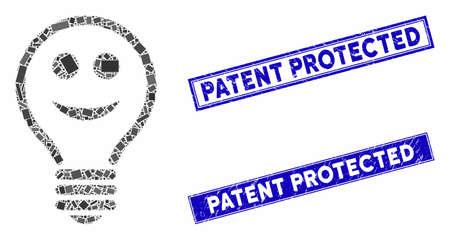 Mosaic happy electric bulb pictogram and rectangular Patent Protected watermarks. Flat vector happy electric bulb mosaic pictogram of random rotated rectangular elements. Illusztráció
