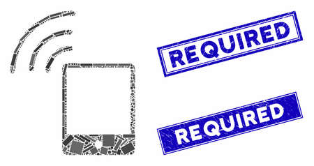 Mosaic smartphone WiFi signal icon and rectangle Required seal stamps. Flat vector smartphone WiFi signal mosaic icon of scattered rotated rectangle elements. Foto de archivo - 135275892