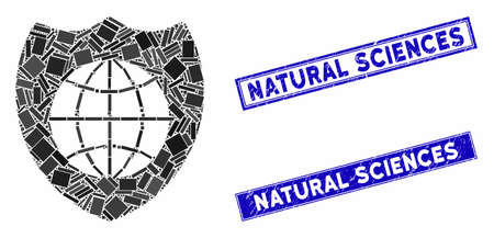 Mosaic global shield icon and rectangular Natural Sciences seal stamps. Flat vector global shield mosaic pictogram of random rotated rectangular items. Ilustração