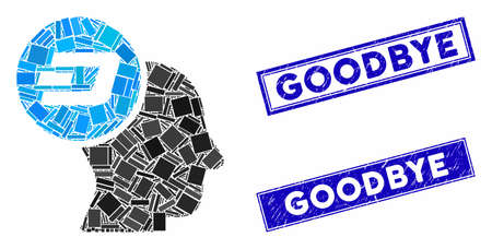 Mosaic Dash thinking head icon and rectangular Goodbye seal stamps. Flat vector Dash thinking head mosaic icon of random rotated rectangular elements. Blue Goodbye stamps with dirty textures.