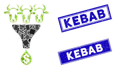 Mosaic cattle profit funnel icon and rectangle Kebab watermarks. Flat vector cattle profit funnel mosaic icon of scattered rotated rectangle elements. Blue Kebab stamps with grunged texture.