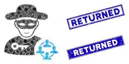 Mosaic social hacker pictogram and rectangular Returned watermarks. Flat vector social hacker mosaic icon of randomized rotated rectangular elements. Blue Returned watermarks with scratched surface. Illustration