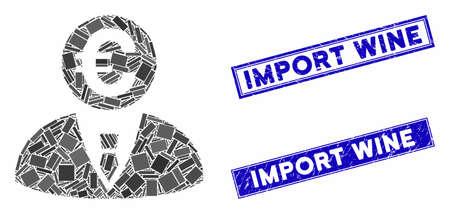 Mosaic Euro banker pictogram and rectangular Import Wine stamps. Flat vector Euro banker mosaic pictogram of randomized rotated rectangular items.