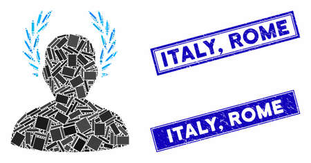 Mosaic caesar icon and rectangle Italy, Rome rubber prints. Flat vector caesar mosaic icon of randomized rotated rectangle items. Blue Italy, Rome stamps with rubber textures.