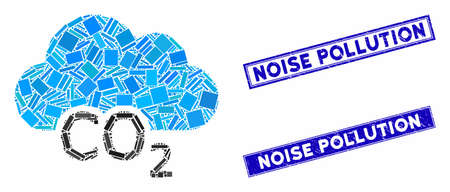 Mosaic carbon cloud icon and rectangle Noise Pollution watermarks. Flat vector carbon cloud mosaic icon of scattered rotated rectangle items. Blue Noise Pollution watermarks with corroded texture.