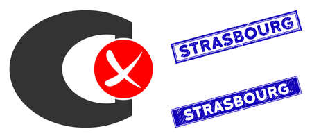 Flat vector standard control failed pictogram and rectangle Strasbourg seal stamps. A simple illustration iconic design of Standard Control Failed on a white background.