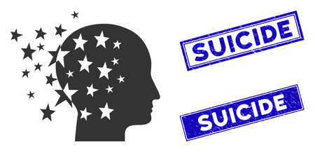 Flat vector star mind pictogram and rectangular Suicide seal stamps. A simple illustration iconic design of Star Mind on a white background. Blue Suicide rubber stamps with rubber textures.