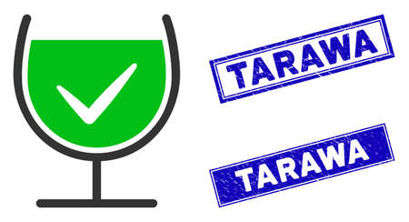 Flat vector true drink glass pictogram and rectangular Tarawa seals. A simple illustration iconic design of True Drink Glass on a white background. Blue Tarawa seals with scratched textures.