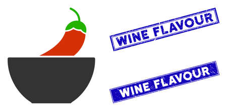 Flat vector spicy food pictogram and rectangular Wine Flavour seals. A simple illustration iconic design of Spicy Food on a white background. Blue Wine Flavour seals with scratched surface.