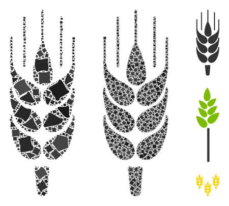 Barley ear icon composition of joggly items in various sizes and color tints, based on barley ear icon. Vector joggly pieces are composed into composition.