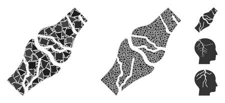 Bone cancer icon composition of bumpy elements in variable sizes and shades, based on bone cancer icon. Vector tremulant items are organized into collage.