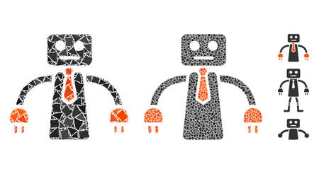 Boss robot icon composition of ragged pieces in variable sizes and color tints, based on boss robot icon. Vector rough pieces are organized into collage. Boss robot icons collage with dotted pattern.