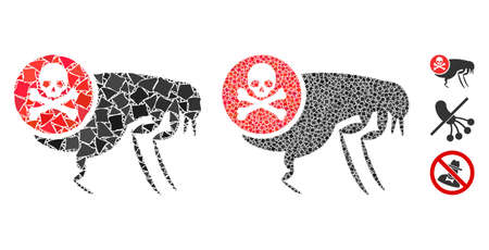 Flea pesticide icon mosaic of humpy parts in various sizes and color tones, based on flea pesticide icon. Vector joggly parts are grouped into mosaic. Flea pesticide icons collage with dotted pattern.