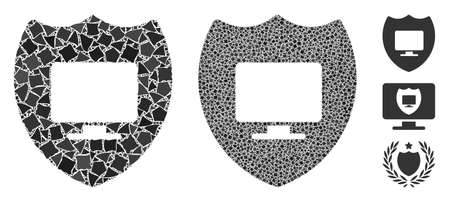 Computer insurance icon mosaic of bumpy items in variable sizes and color tones, based on computer insurance icon. Vector bumpy items are grouped into illustration.
