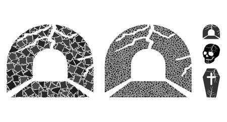 Corrupted tunnel icon mosaic of rugged items in different sizes and color tinges, based on corrupted tunnel icon. Vector abrupt items are combined into collage.