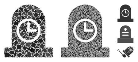 Expired grave icon mosaic of ragged parts in variable sizes and color tinges, based on expired grave icon. Vector rugged parts are composed into collage. Ilustrace