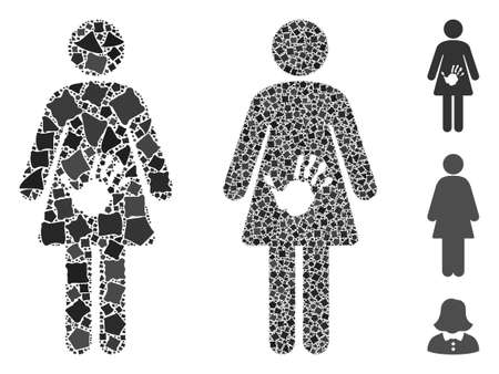 Female harassment icon composition of abrupt pieces in different sizes and color tones, based on female harassment icon. Vector rugged pieces are composed into collage.