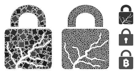 Corrupted lock icon mosaic of unequal parts in different sizes and color tones, based on corrupted lock icon. Vector uneven parts are united into collage.