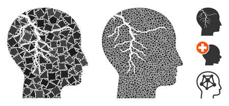 Head cancer icon composition of ragged elements in different sizes and color tinges, based on head cancer icon. Vector rugged dots are combined into collage.