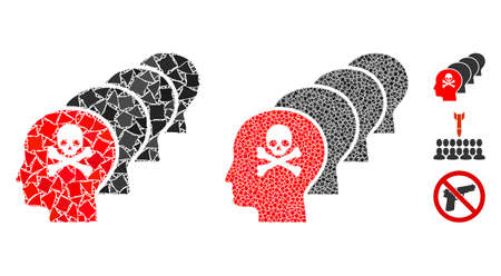 Kill all humans icon mosaic of inequal pieces in variable sizes and color tinges, based on kill all humans icon. Vector inequal dots are united into mosaic. Çizim