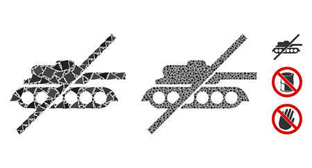 No tank icon composition of raggy items in various sizes and color tinges, based on no tank icon. Vector raggy parts are grouped into collage. No tank icons collage with dotted pattern. Ilustrace