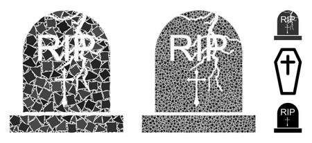 Old grave icon mosaic of irregular items in various sizes and color tones, based on old grave icon. Vector uneven parts are composed into collage. Old grave icons collage with dotted pattern.