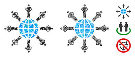 Planetary society icon mosaic of trembly elements in variable sizes and color tones, based on planetary society icon. Vector humpy elements are combined into mosaic. Ilustrace