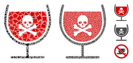Poison drink glass icon composition of rugged parts in various sizes and color tints, based on poison drink glass icon. Vector rugged parts are composed into composition. Ilustrace