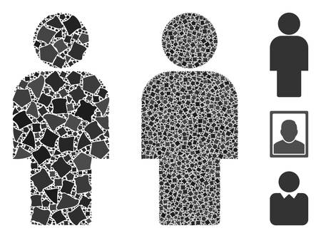 Person icon composition of tremulant pieces in different sizes and color tints, based on person icon. Vector tremulant pieces are combined into illustration. Person icons collage with dotted pattern.