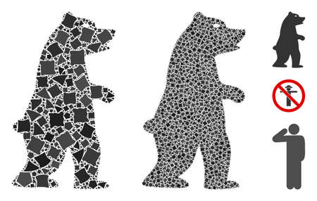 Standing bear icon mosaic of unequal pieces in various sizes and shades, based on standing bear icon. Vector unequal items are composed into collage. Standing bear icons collage with dotted pattern.