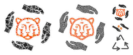 Save tigers icon composition of inequal elements in different sizes and color tinges, based on save tigers icon. Vector rugged dots are united into collage. Ilustrace