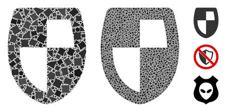 Shield icon composition of irregular elements in variable sizes and color tints, based on shield icon. Vector irregular parts are combined into composition. Shield icons collage with dotted pattern.