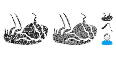 Sick flea icon mosaic of uneven parts in variable sizes and color tones, based on sick flea icon. Vector uneven parts are united into collage. Sick flea icons collage with dotted pattern. Illusztráció