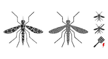 Mosquito icon mosaic of humpy pieces in different sizes and color hues, based on mosquito icon. Vector tuberous pieces are composed into collage. Mosquito icons collage with dotted pattern.