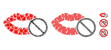 Stop love kiss icon mosaic of inequal items in different sizes and shades, based on stop love kiss icon. Vector raggy dots are combined into mosaic. Stop love kiss icons collage with dotted pattern.
