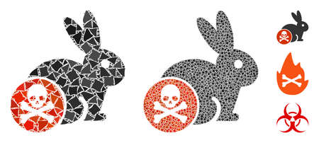 Rabbit toxin icon mosaic of uneven pieces in various sizes and color hues, based on rabbit toxin icon. Vector rugged pieces are combined into mosaic. Rabbit toxin icons collage with dotted pattern.