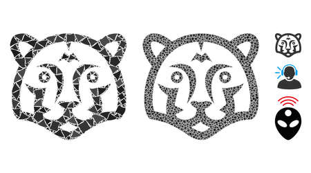 Tiger head icon mosaic of rugged parts in different sizes and color tints, based on tiger head icon. Vector abrupt parts are combined into mosaic. Tiger head icons collage with dotted pattern. 向量圖像