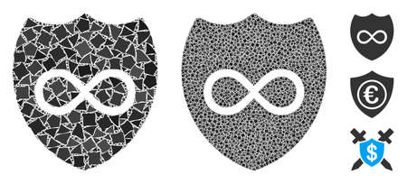 Unlimited shield icon mosaic of joggly parts in different sizes and color tints, based on unlimited shield icon. Vector joggly pieces are combined into mosaic. Illustration