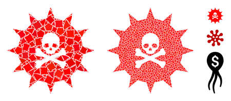 Viral toxin icon mosaic of uneven pieces in various sizes and color tones, based on viral toxin icon. Vector uneven items are combined into collage. Viral toxin icons collage with dotted pattern.