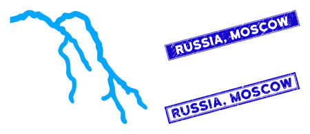 Flat vector river pictogram and rectangular Russia, Moscow seals. A simple illustration iconic design of River on a white background. Blue Russia, Moscow seals with grunge texture.