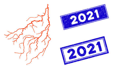 Flat vector lightning pictogram and rectangular 2021 seal stamps. A simple illustration iconic design of Lightning on a white background. Blue 2021 stamps with grunge texture. Ilustrace