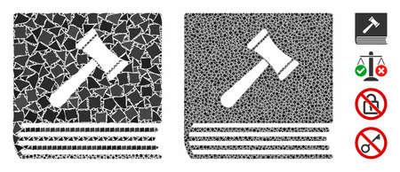 Verhaltenskodex-Mosaik aus ungleichen Elementen in verschiedenen Größen und Schattierungen, basierend auf dem Verhaltenskodex-Symbol. Unebene Vektorteile werden zu einem Mosaik gruppiert. Verhaltenskodex-Symbole Collage mit gepunktetem Muster.