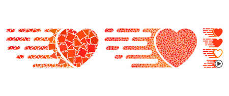 Express love heart composition of tremulant items in various sizes and color tints, based on express love heart icon. Vector tuberous parts are composed into composition.
