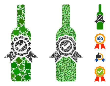 Finest wine composition of raggy items in different sizes and color hues, based on finest wine icon. Vector raggy items are organized into illustration. Finest wine icons collage with dotted pattern.