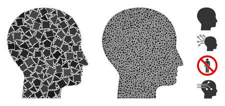 Human head mosaic of unequal parts in variable sizes and color tones, based on human head icon. Vector unequal parts are united into illustration. Human head icons collage with dotted pattern.
