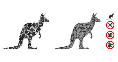 Kangaroo mosaic of raggy items in variable sizes and color tints, based on kangaroo icon. Vector unequal items are united into mosaic. Kangaroo icons collage with dotted pattern. 矢量图像